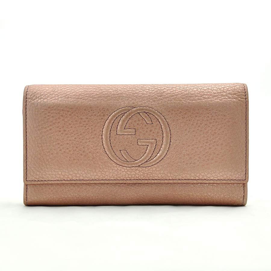 グッチ 財布 メタリックピンク レザー GUCCI -TKY22668
