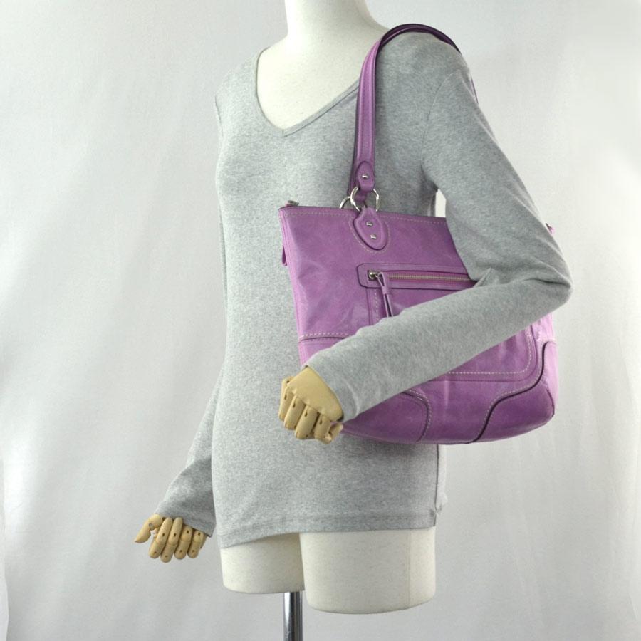 auth coach shoulder bag light pink and purple leather. Black Bedroom Furniture Sets. Home Design Ideas