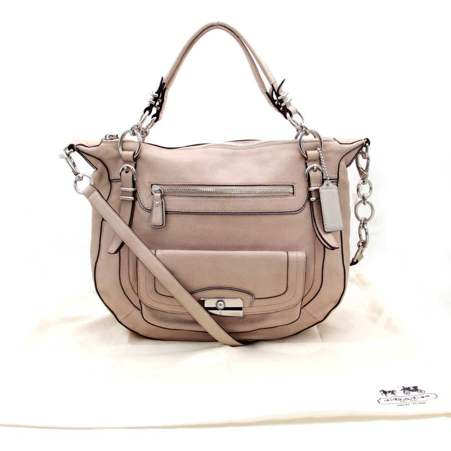 auth coach shoulder bag light pink leather 26146 ebay. Black Bedroom Furniture Sets. Home Design Ideas
