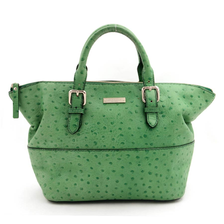 Auth Kate Spade Handbag Green Ostrich Leather 28516