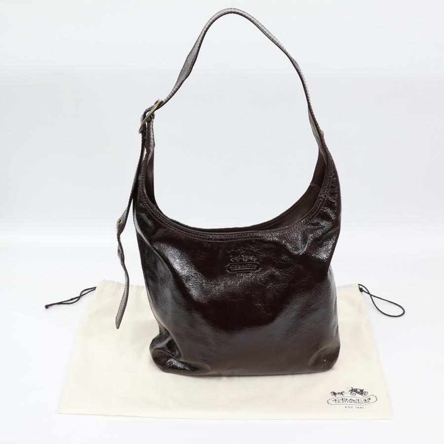 auth coach bleecker sophie patent leather duffle shoulder