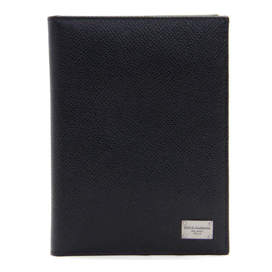 ドルチェ&ガッバーナ パスポートカバー ブラック 型押しレザー DOLCE&GABBANA -TKY40895